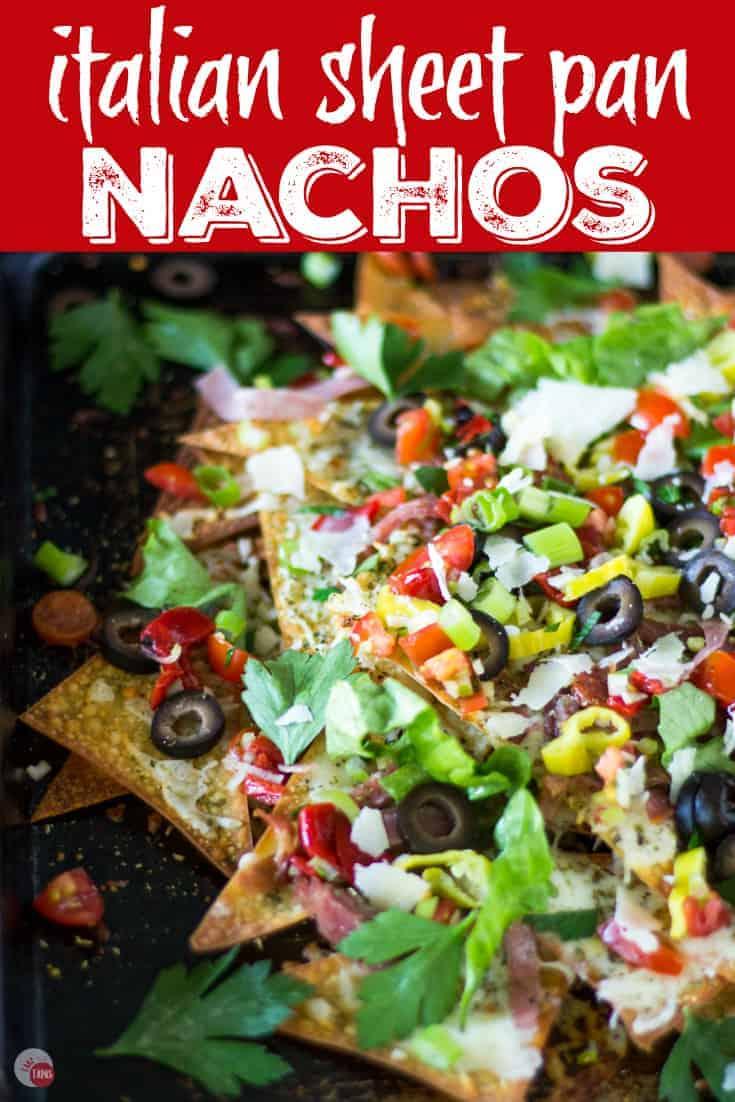 Italian Sheet Pan Nachos Recipe | Take Two Tapas | #SheetPanNachos #Italian #nachos #Wontons