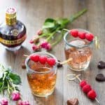 Chambord Raspberry liqueur mixed with bourbon and lemon-lime soda