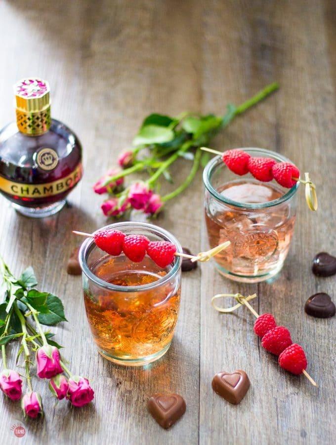 Chambord Raspberry liqueur mixed with bourbon and lemon-lime soda