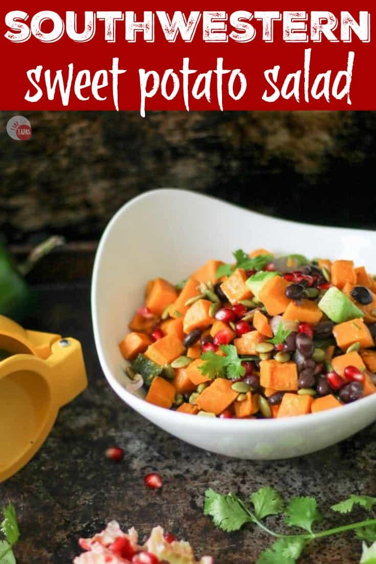 Southwest Sweet Potato Salad with Honey Lime Vinaigrette Recipe | Take Two Tapas | #Southwest #PotatoSalad #SweetPotatoRecipe #SideDish #SummerBBQ #SummerRecipe #BBQSideDish #BBQrecipe