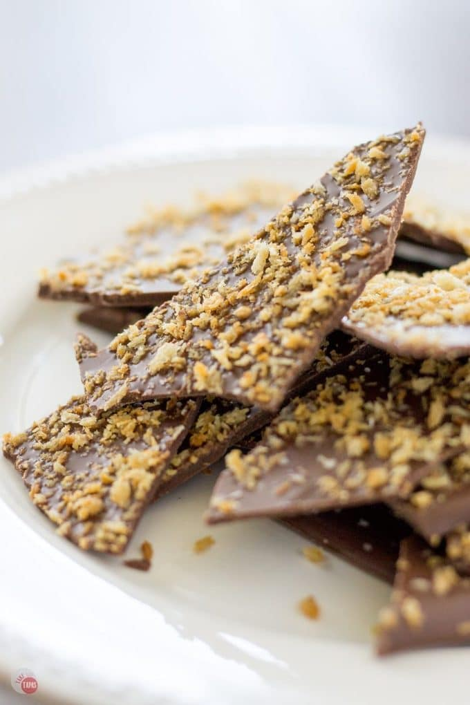 Dark Chocolate Bark with Panko Crumbs on a white plate