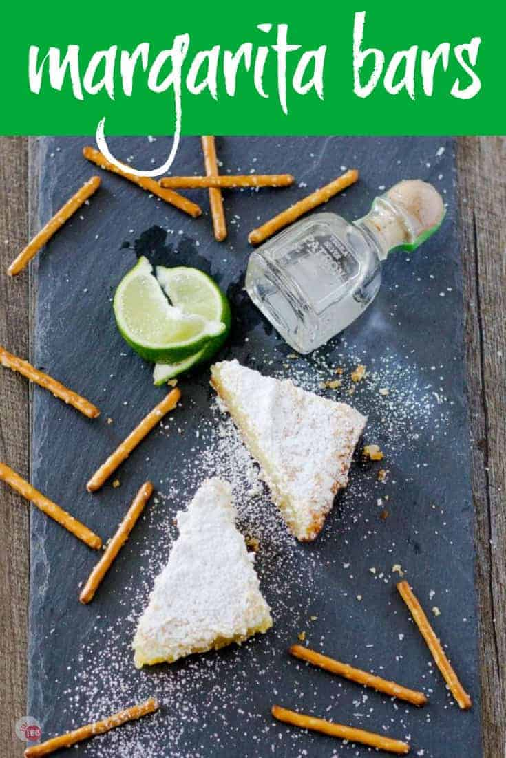 Margarita Bars have a creamy and tart lime filling complete with a splash of tequila that sits atop a shortbread salty pretzel crust. | Take Two Tapas | #MargaritaBars #Margarita #LemonBars #CincoDeMayo