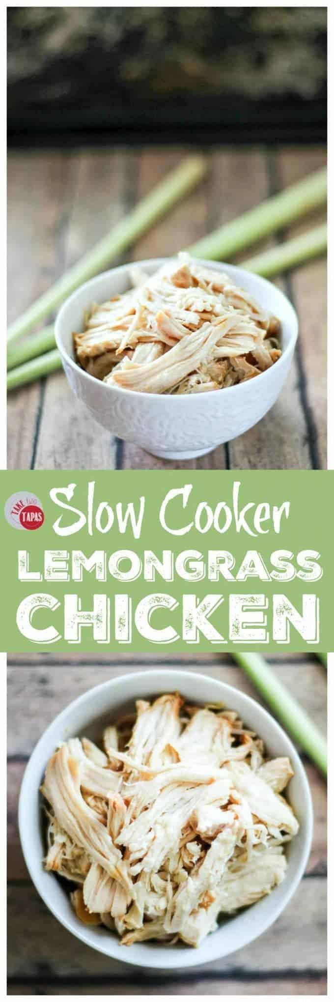 "Pinterest collage image with text ""slow cooker lemongrass chicken"""