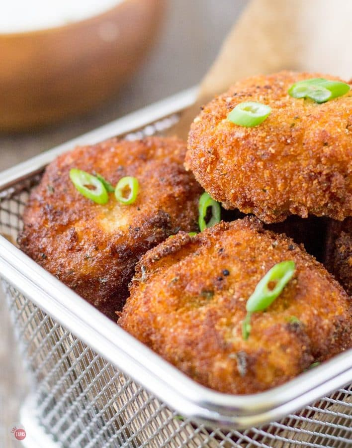 Close up of Southwest Potato Croquettes in a fry basket