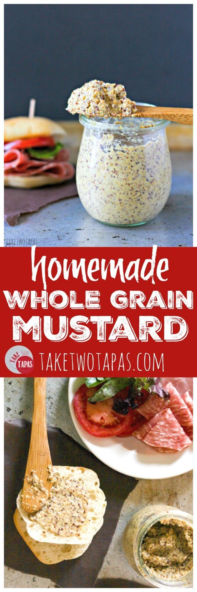 Getting tired of buying mustard? Make your own! It's simple and you can add your own flavors! Customize your own condiments to match your menu! Homemade Whole Grain Mustard Recipe | Take Two Tapas | #Homemade #WholeGrain #Mustard #MustardSeeds #Pickled