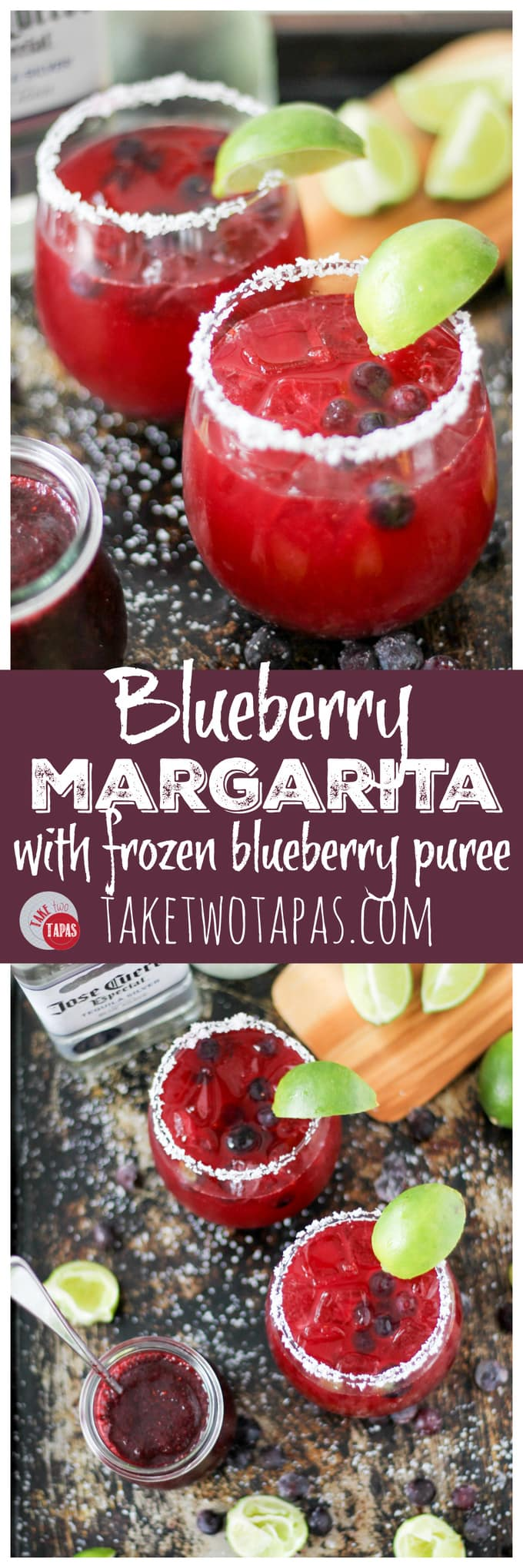 Blueberry Margaritas for a cool cocktail! Blueberry Margarita Recipe | Take Two Tapas