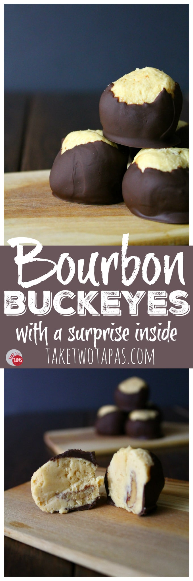 Bourbon Buckeyes with a surprise inside   Take Two Tapas   #Buckeyes #Bourbon #pecans #peanutbutter #chocolate