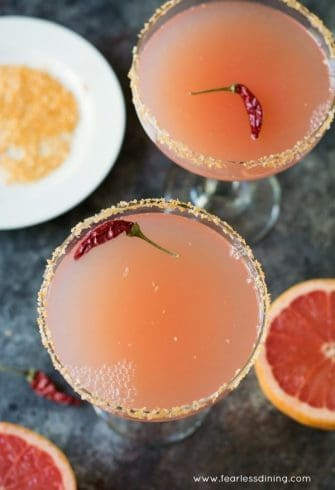 Pink Grapefruit Margaritas with Sriracha Salt | Fearless Dining