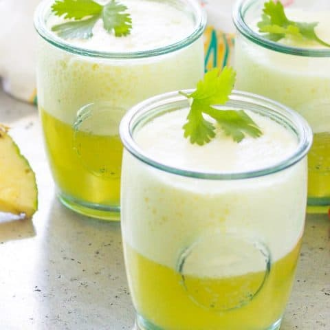 side view of Pineapple Ginger Prosecco Punch