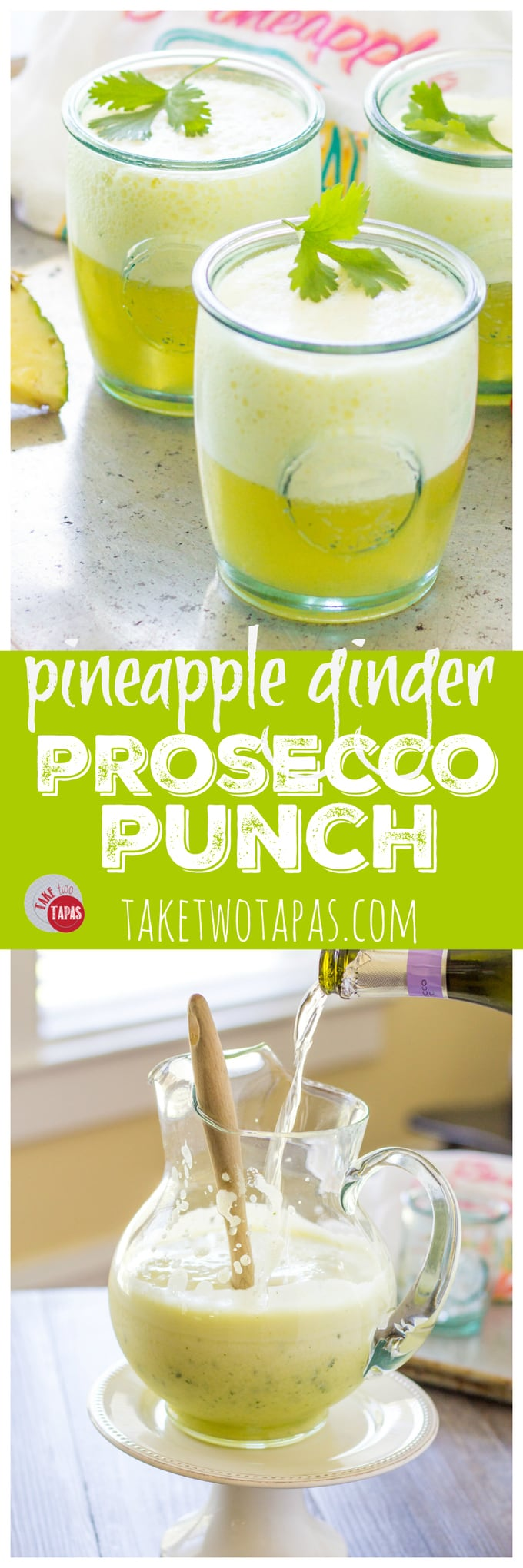 This pitcher style pineapple ginger prosecco punch is perfect for an intimate party or a full blown celebration! Make ahead and add the prosecco at the last minute for a bubbly and refreshing cocktail! Mocktail version available too! Pineapple Ginger Prosecco Punch Recipe | Take Two Tapas | #Pineapple #Ginger #Prosecco #punch #Brunch #largebatch #Entertaining #easydrinks