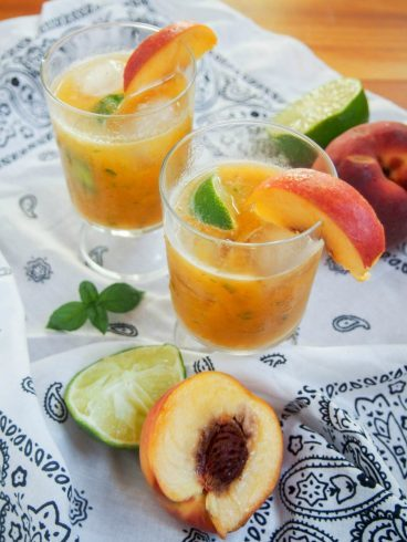 Basil Peach Margarita | Caroline's Cooking