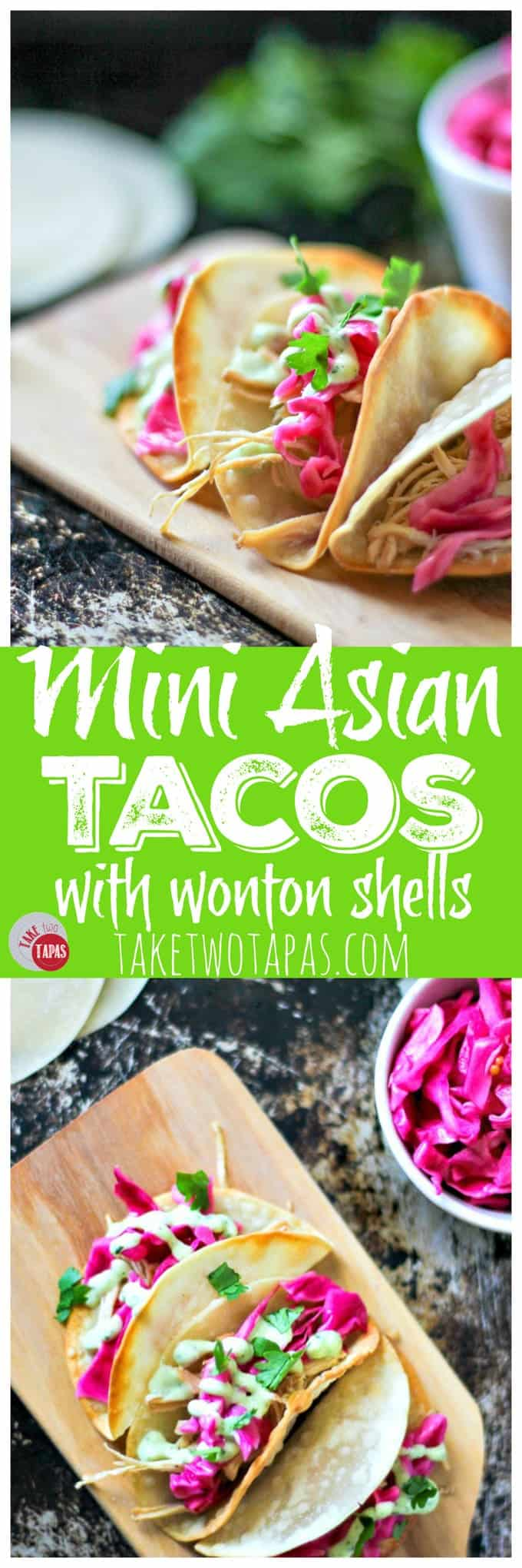 Mini Asian Tacos with Wonton Shells | Take Two Tapas
