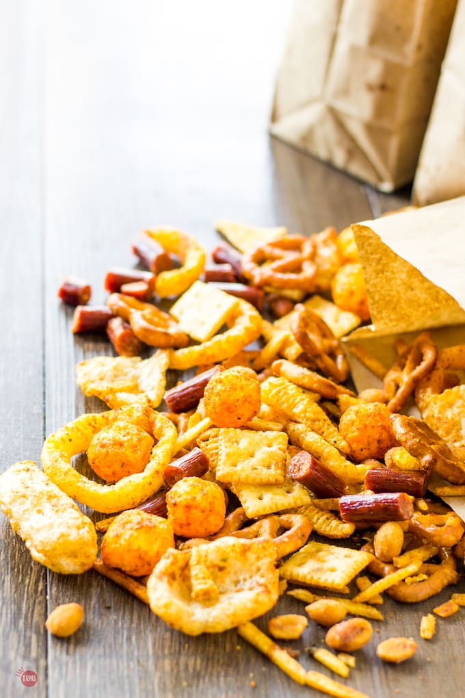 close up of snack mix on table