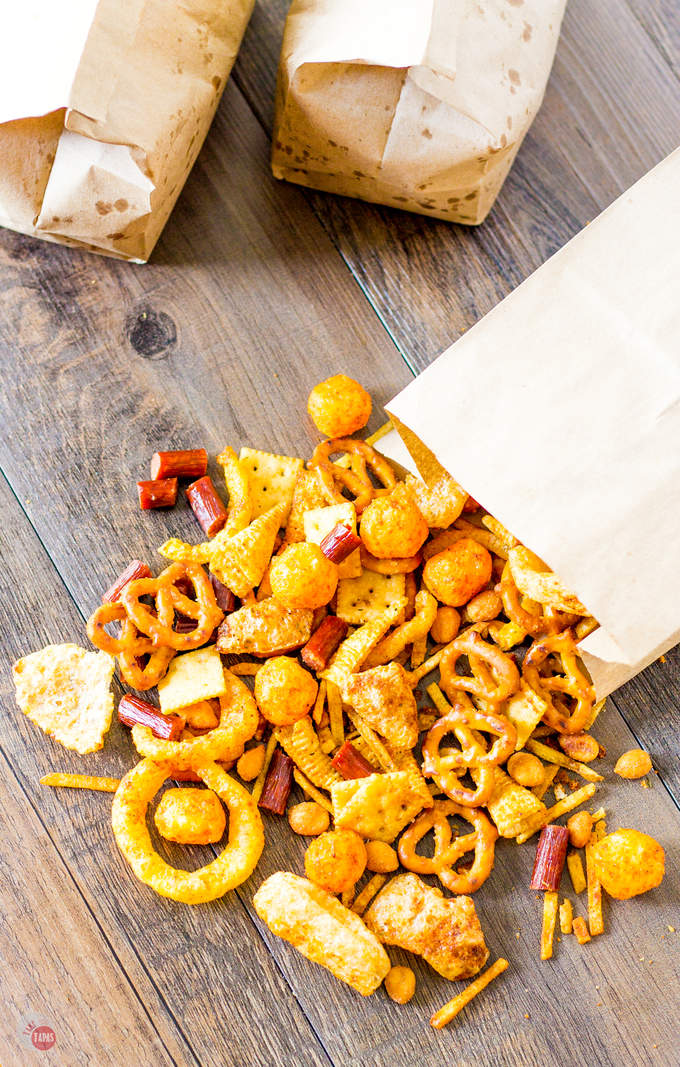 overhead view of snack mix
