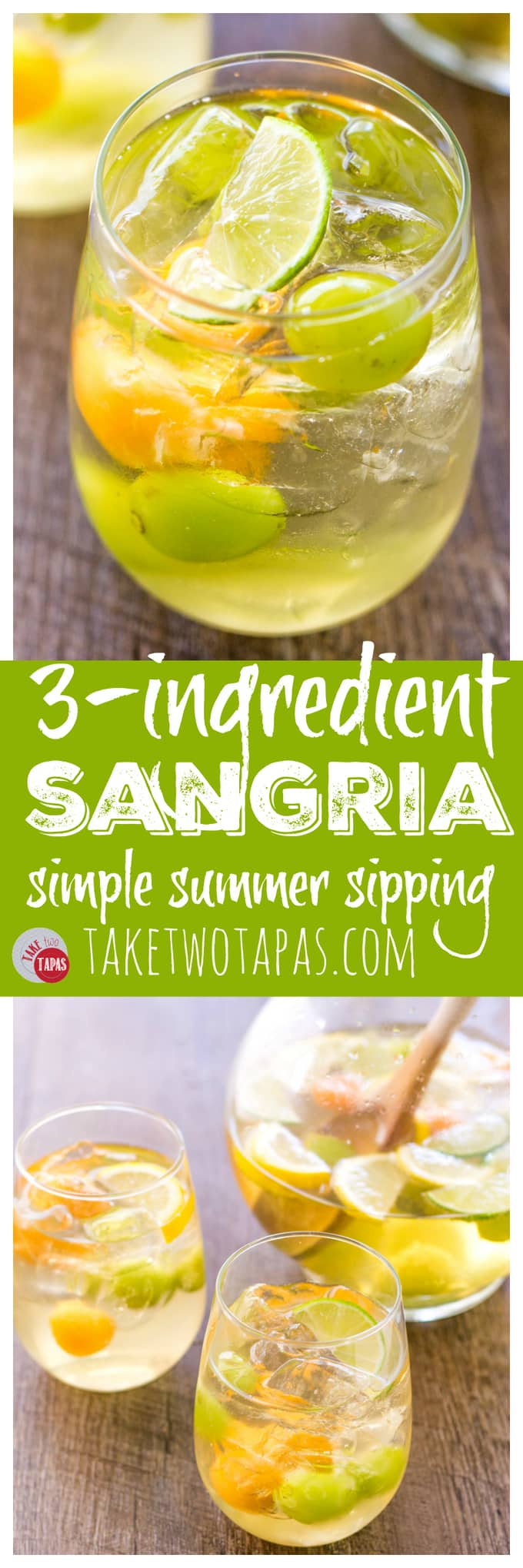 3 Ingredient Sangria for Summer Entertaining and Cocktail | Take Two Tapas | #Summer #Sangria #CocktailRecipe #SimpleCocktail #EasyWineCocktails