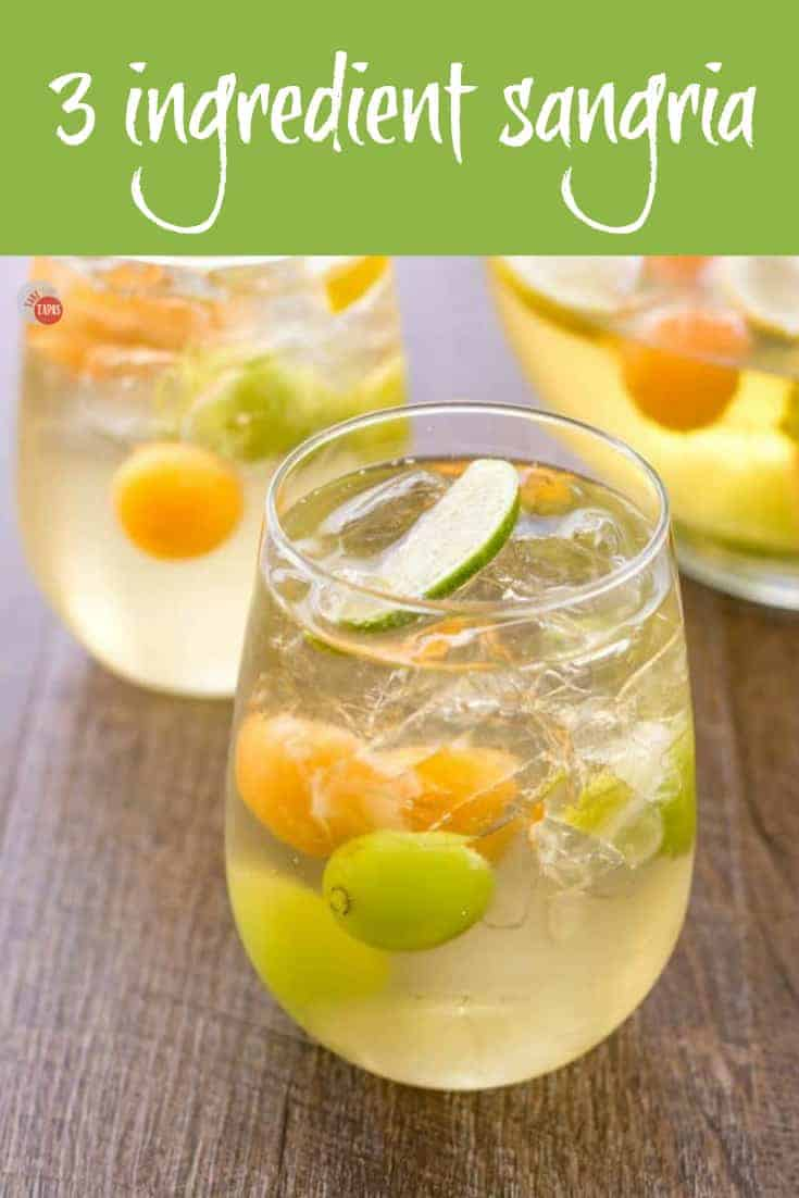 A simple 3 ingredient sangria recipe for easy party hosting! | Take Two Tapas | #Summer #Sangria #CocktailRecipe #SimpleCocktail #EasyWineCocktails