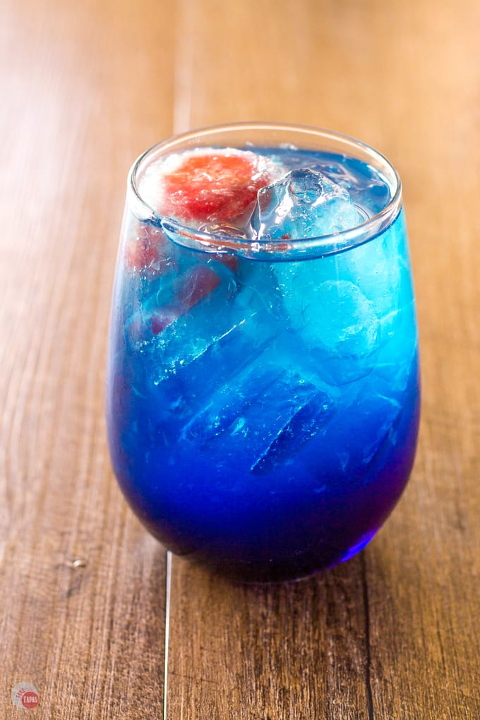 Grenadine Ice Cubes for my Space Pop Cocktail | Take Two Tapas | #PatrioticRecipes #4thofJuly #RedWhiteBlue #CocktailRecipes #VodkaRecipe #SummerHolidays #SummerRecipes