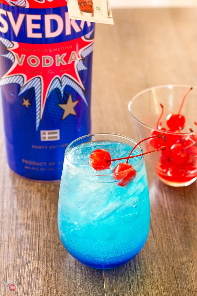 marching cherries in my Space Pop Cocktail | Take Two Tapas | #PatrioticRecipes #4thofJuly #RedWhiteBlue #CocktailRecipes #VodkaRecipe #SummerHolidays #SummerRecipes