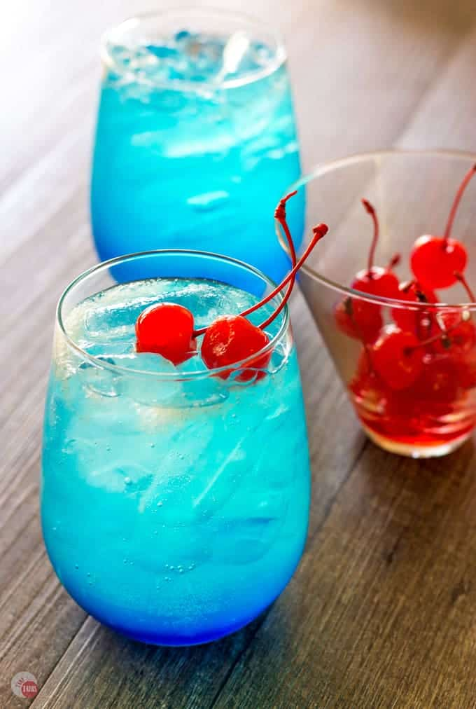 Space Pop Cocktail with Cherries | Take Two Tapas | #PatrioticRecipes #4thofJuly #RedWhiteBlue #CocktailRecipes #VodkaRecipe #SummerHolidays #SummerRecipes