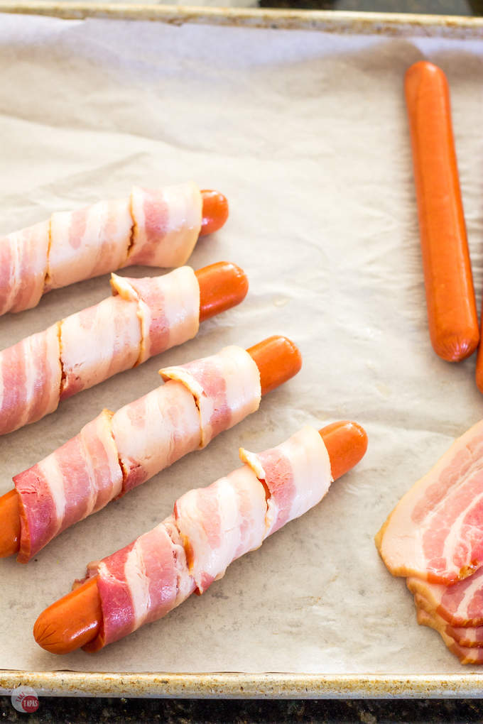 Thick Cut Bacon Wrapped Hot Dogs | Take Two Tapas