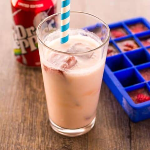 Dr. Pepper Inside out float, a can of Dr. Pepper and a Dr. Pepper ice cube tray on a wood surface
