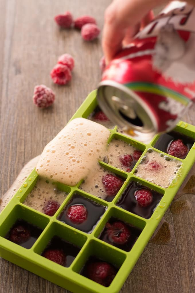 Filling Dr Pepper ice cube trays | Take Two Tapas