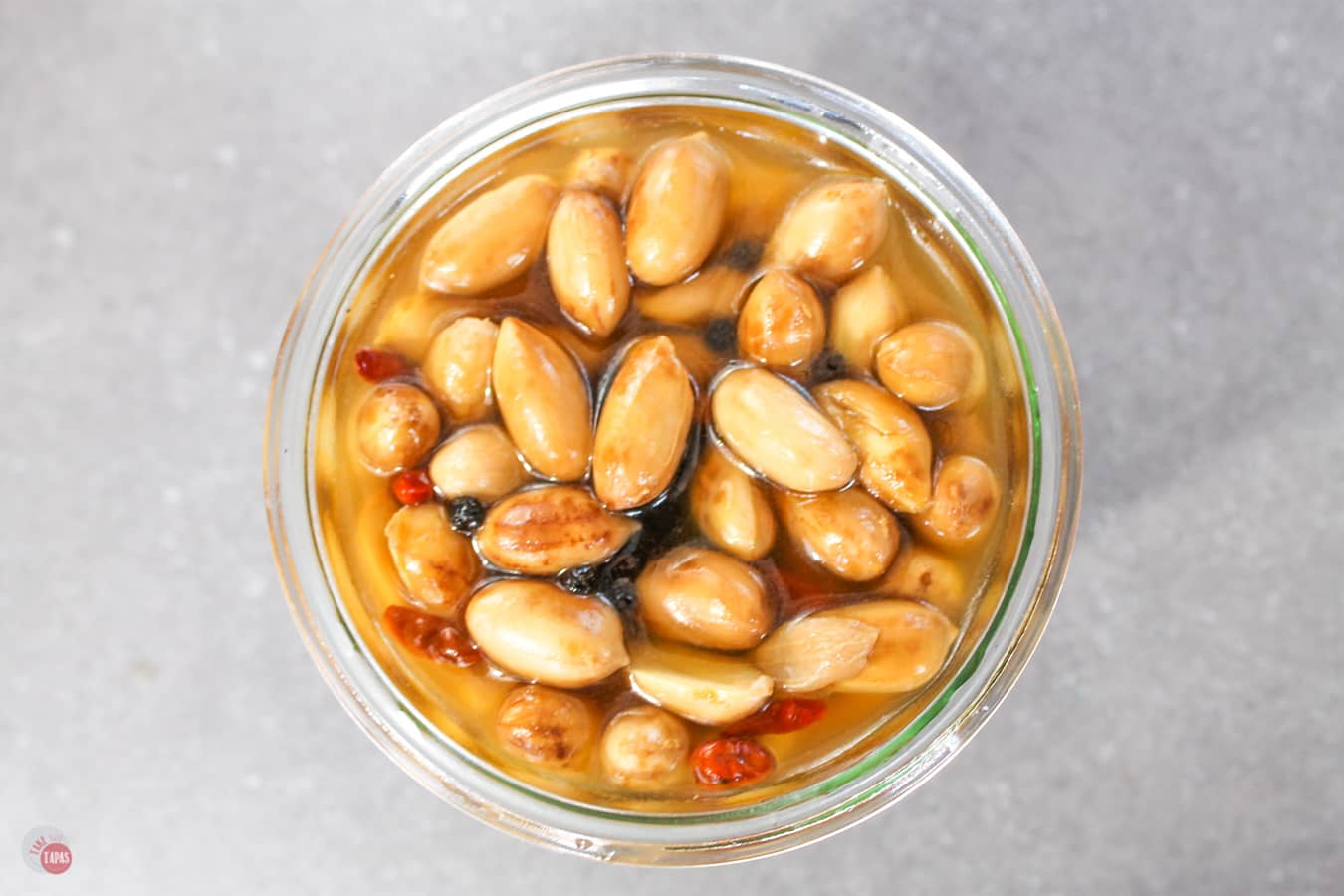 close up of pickled nuts