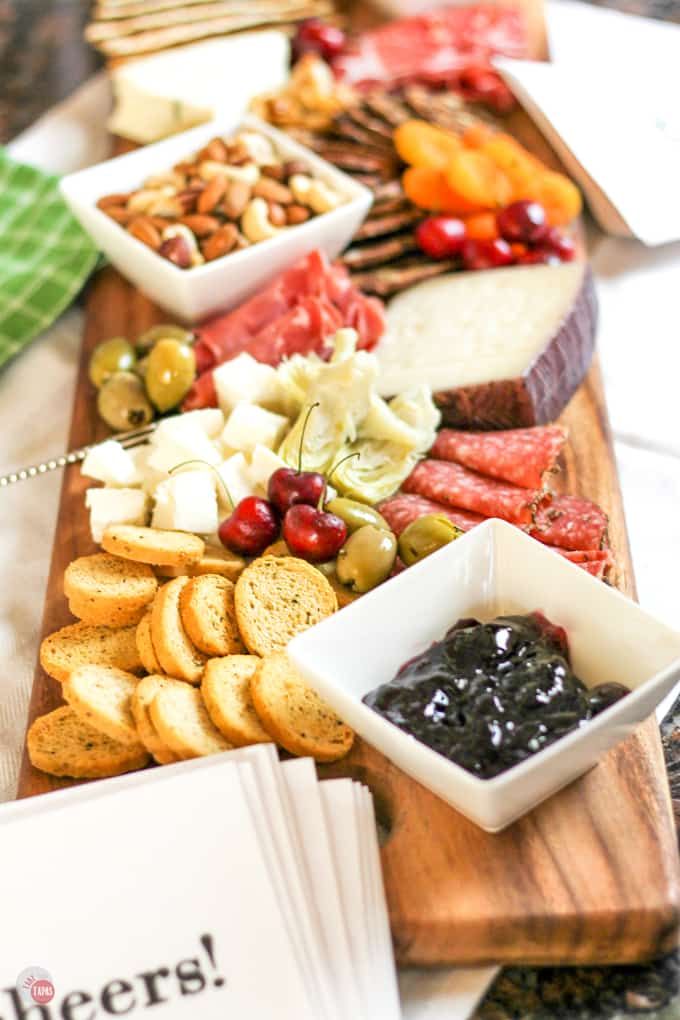 Summer Tapas Antipasto Cheese Board For Your Party | Take Two Tapas | #SummerEntertaining #EasyEntertaining #CheeseBoardIdeas #CheeseBoardDisplay #Antipasto #Tapas #CheeseBoard
