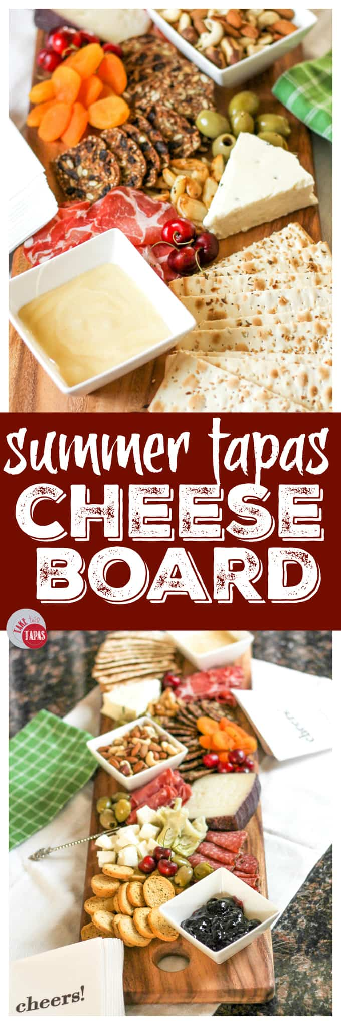 Antipasto Cheese Board for Summer Tapas Entertaining | Take Two Tapas | #SummerEntertaining #EasyEntertaining #CheeseBoardIdeas #CheeseBoardDisplay #Antipasto #Tapas #CheeseBoard