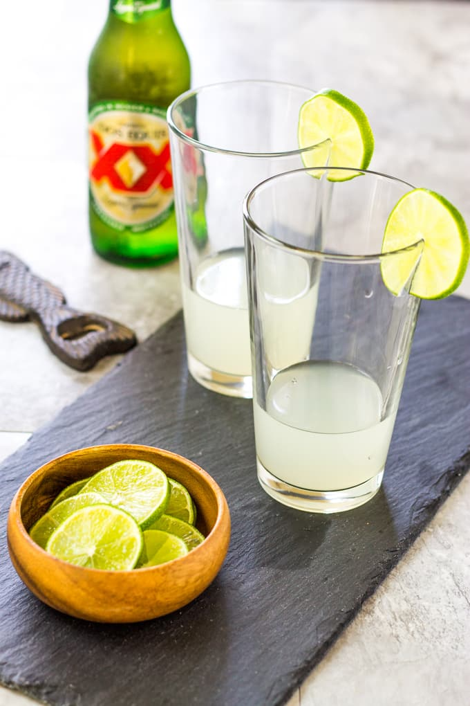 Start with Limeade to make the 3 Ingredient Margarita Beer Shandy | Take Two Tapas | #margarita #beer #Shandy #cocktails
