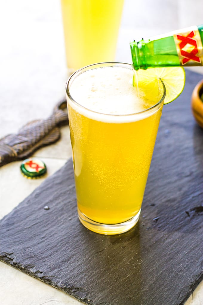 A full beer glass as my Margarita Beer Shandy Cocktail | Take Two Tapas | #margarita #beer #Shandy #cocktails
