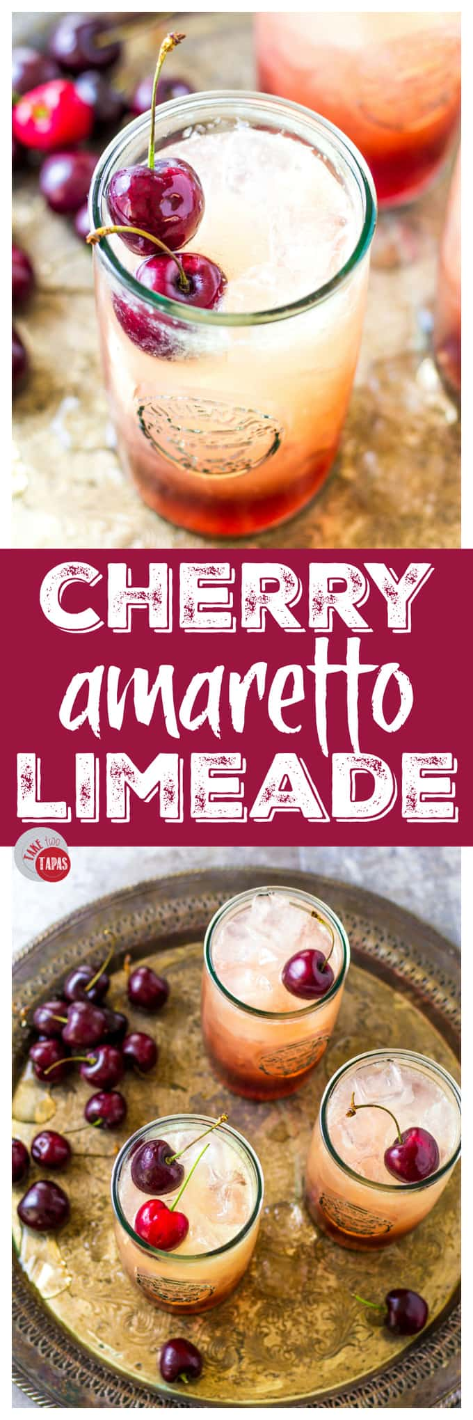 "collage of two cocktails with text ""Cherry Amaretto Limeade"""