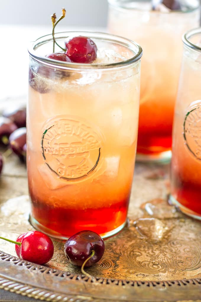 Cherry Amaretto Limeade Cocktail with only 3 Ingredients | Take Two Tapas | #CherryRecipe #Amaretto #Cocktails #Limeade #SummerCocktails #3IngredientCocktails