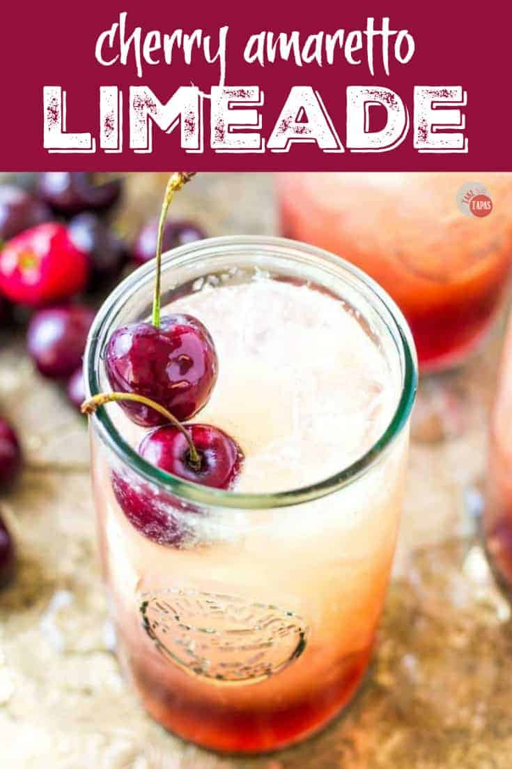 "Pinterest image with text ""Cherry Amaretto Limeade"""