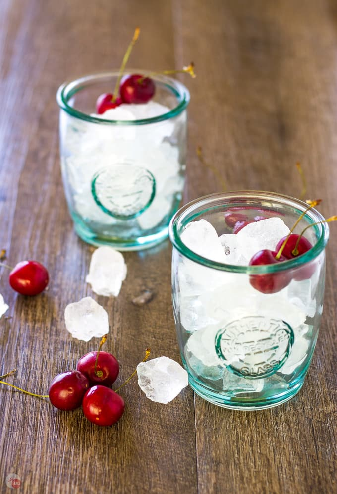 Cherry garnish with ice for the Cherry Lime Bourbon Smash