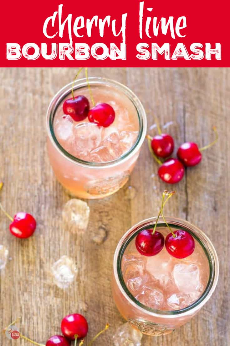 Cherry Lime Bourbon Smash Cocktail | Take Two Tapas | #Cherry #lime #Bourbon #Cocktail #Smash #3Ingredients #Summer