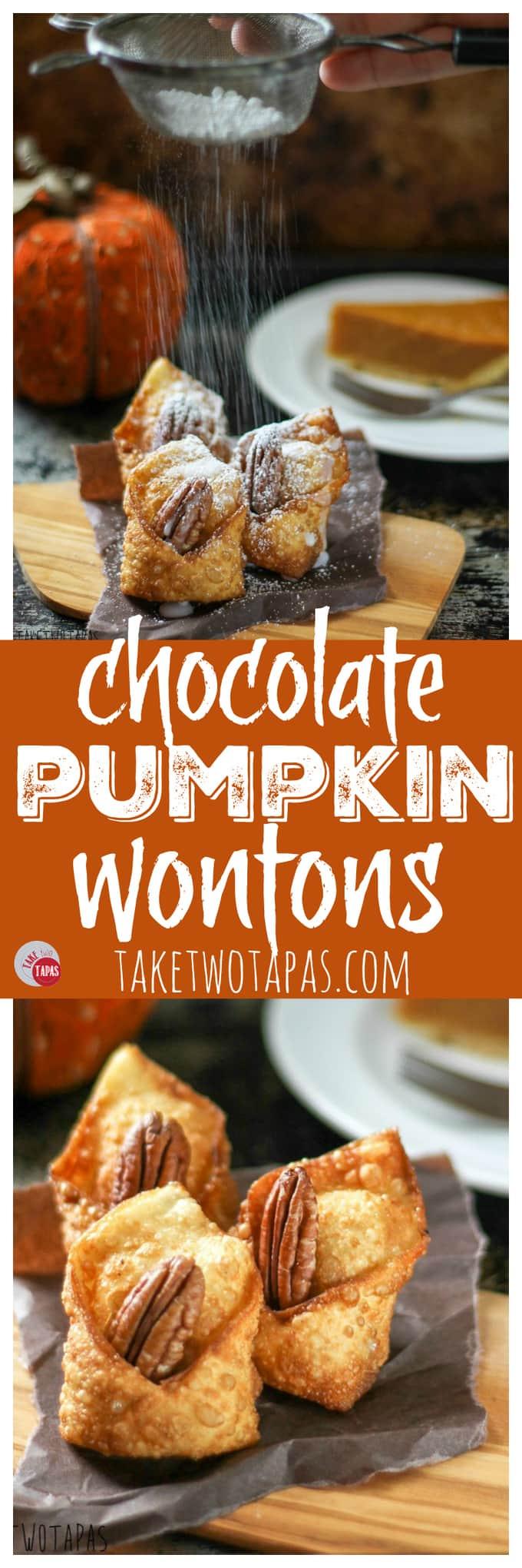 Chocolate Pumpkin Wontons for Halloween | Take Two Tapas