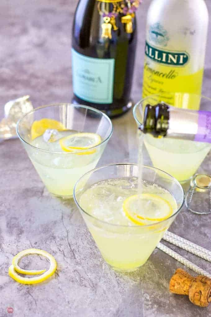 Limoncello Lady 3 Ingredient Cocktail | Take Two Tapas | #Limoncello #ProseccoCocktail #3IngredientCocktails #SimpleCocktailRecipes #Summer