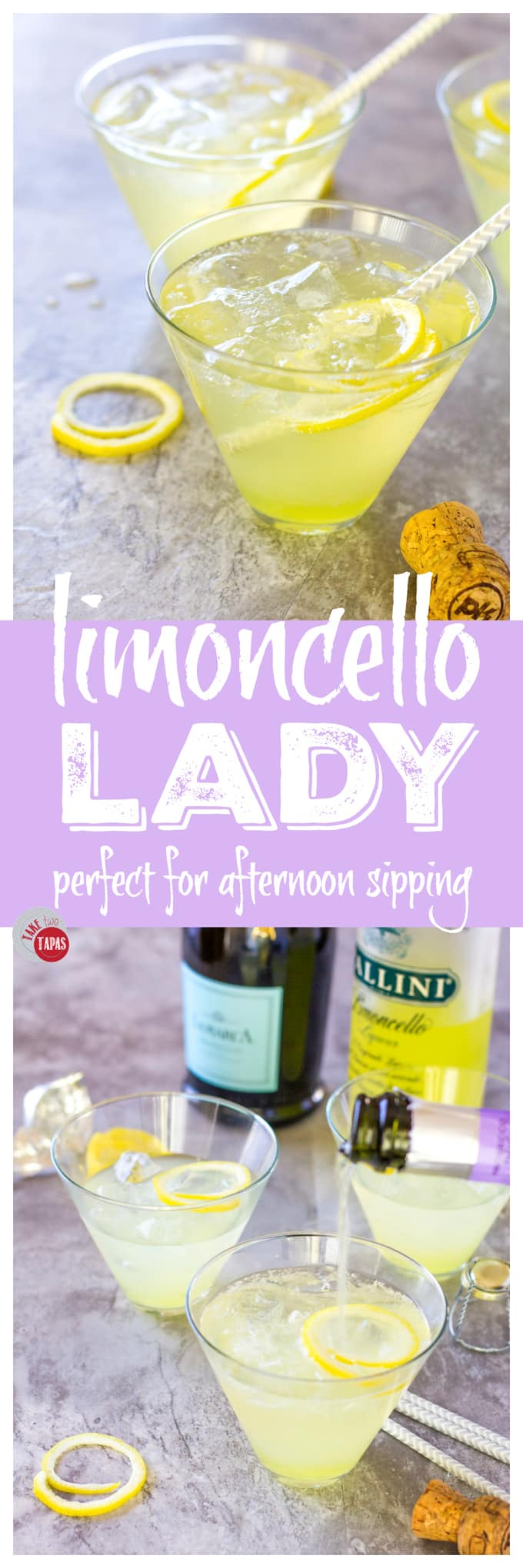 Limoncello Lady Prosecco Punch or Single Cocktail | Take Two Tapas | #Limoncello #ProseccoCocktail #3IngredientCocktails #SimpleCocktailRecipes #Summer
