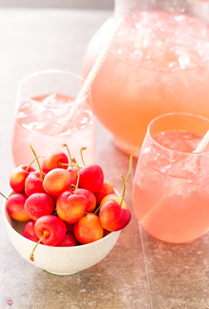 Strawberry Cherries pair well with Pink Passion Party Punch | Take Two Tapas | Pink Passion Party Punch with a threesome of flavors | Take Two Tapas | #partypunchrecipe #pricklypearrecipe #largebatchpunch #bloodorangesoda #PartyRecipes