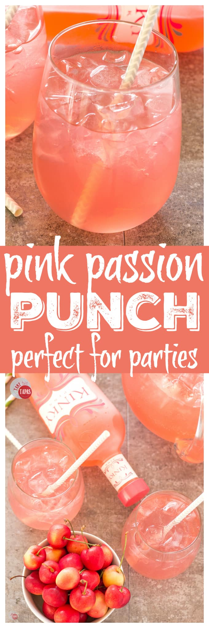 Pink Passion Party Punch for your party | Take Two Tapas | Pink Passion Party Punch with a threesome of flavors | Take Two Tapas | #partypunchrecipe #pricklypearrecipe #largebatchpunch #bloodorangesoda #PartyRecipes