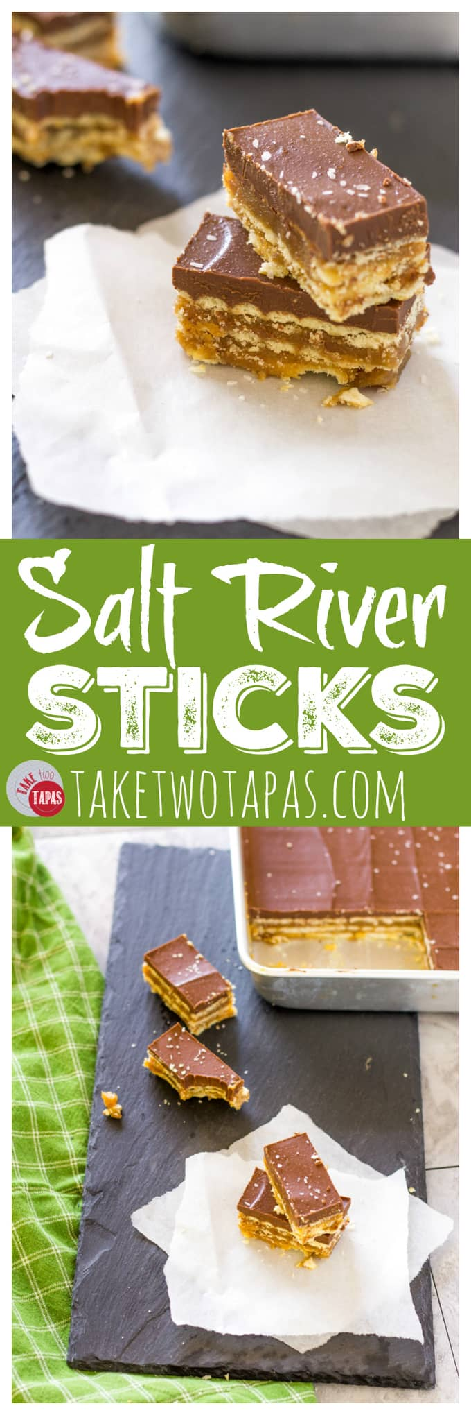 Salt River Sticks topped with Dark Chocolate | Take Two Tapas | #SaltRiverBars #SaltRiverSticks #Butterscotch #Caramel #Crackers #LayeredDessert #ArizonaFood #LibertyMarket #CrackerToffeeBars