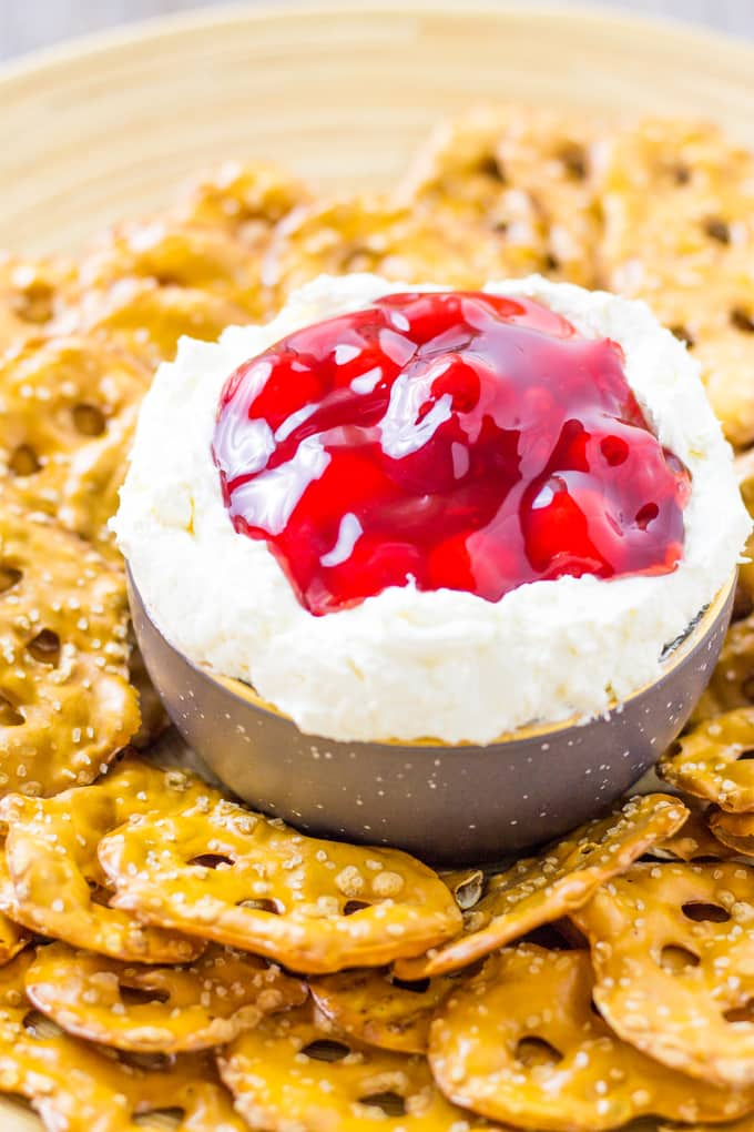 Serve up this gorgeous Cherry Pretzel Salad Dip with crispy Pretzel Crisps | Take Two Tapas | #Cherry #Pretzel #Salad #Cheesecake #DipRecipe #SweetDipRecipe #Strawberry
