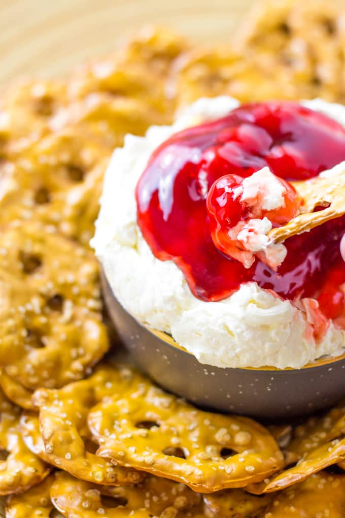 Dive head first into my Cherry Pretzel Salad Dip | Take Two Tapas | #Cherry #Pretzel #Salad #Cheesecake #DipRecipe #SweetDipRecipe #Strawberry