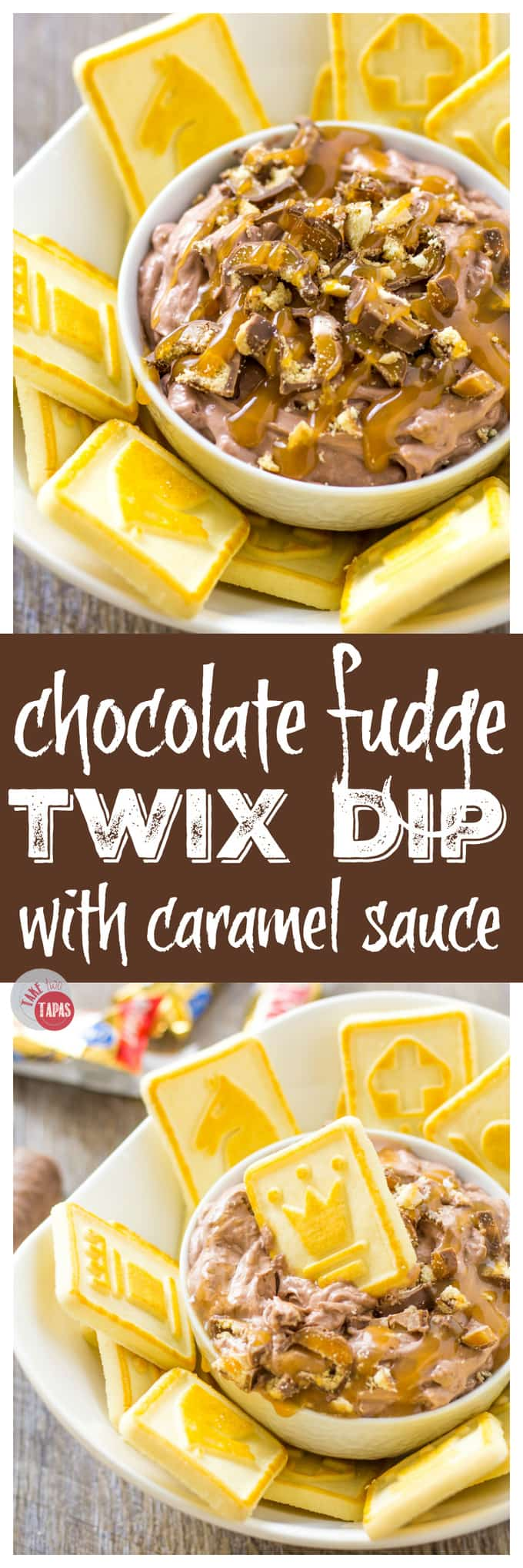Pin this Chocolate Fudge Caramel Twix Dip