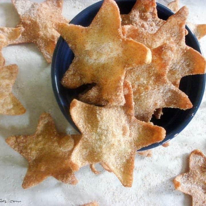 overhead shot of Cinnamon Stars in a blue bowl
