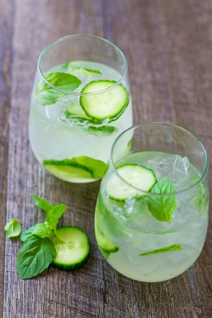 Cucumber Mint Gin Cooler with Homemade Sour Mix