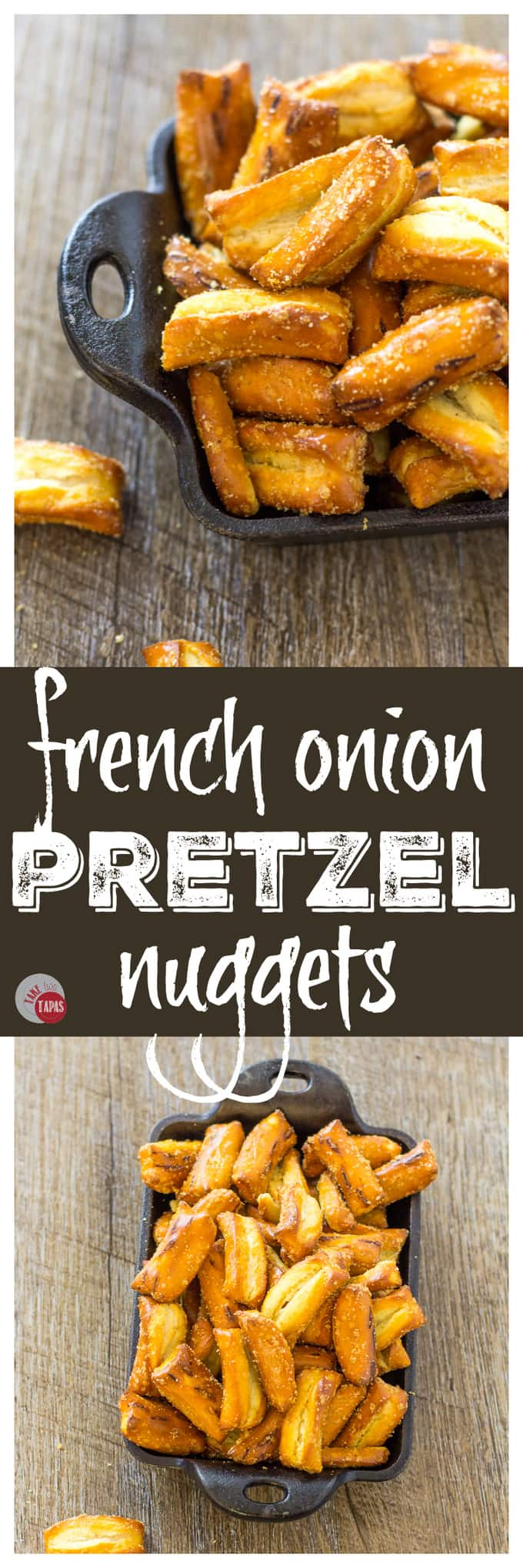Grab a handful of these tangy french onion pretzel nuggets | Take Two Tapas | #FrenchOnion #Pretzels #Snacks #seasonedpretzels #FrenchOnionPretzels #PretzelRecipes