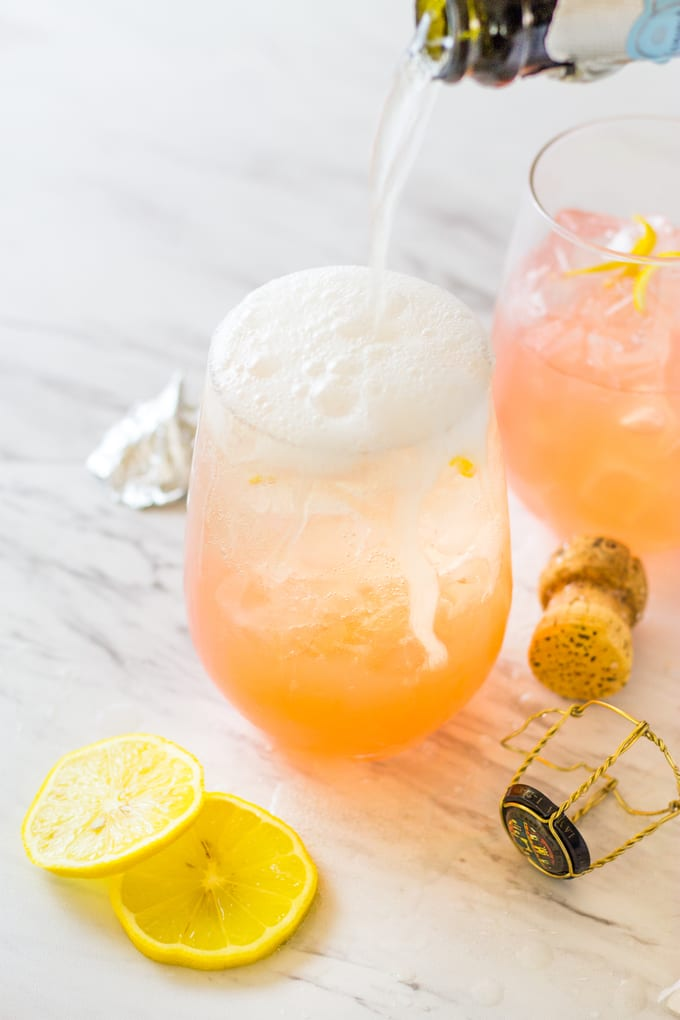 Add the prosecco to the Grapefruit Lemonade Crush | Take Two Tapas
