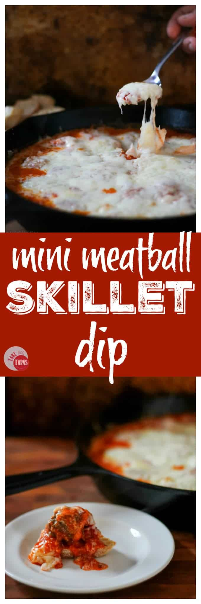 This Mini Meatball Skillet Dip is perfect for game day! | Take Two Tapas